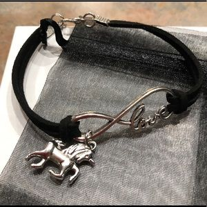 "Jewelry - NEW•Black infinity ""Love"" bracelet w/unicorn charm"